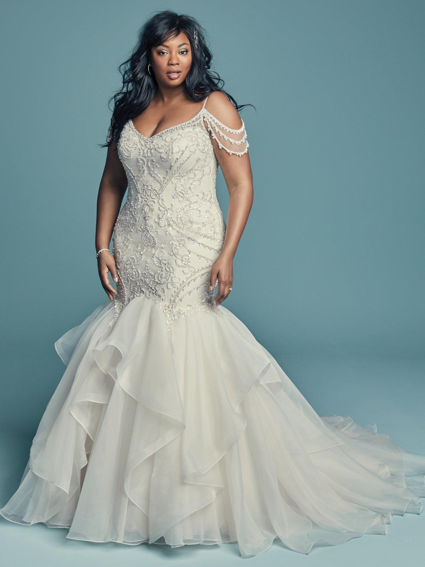 Cold Shoulder Sweetheart Neckline Beaded Bodice Organza Skirt Mermaid Wedding Dress Kleinfeld Bridal