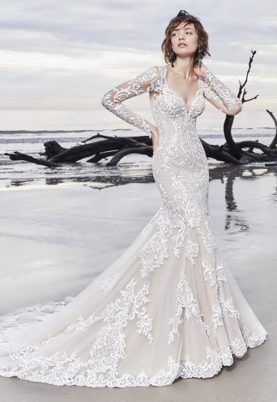 Illusion Long Sleeve Lace Fit And Flare Wedding Dress by Maggie Sottero