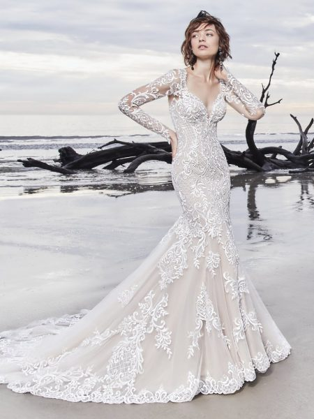 1daffdbb202 Illusion Long Sleeve Lace Fit And Flare Wedding Dress by Maggie Sottero -  Image 1