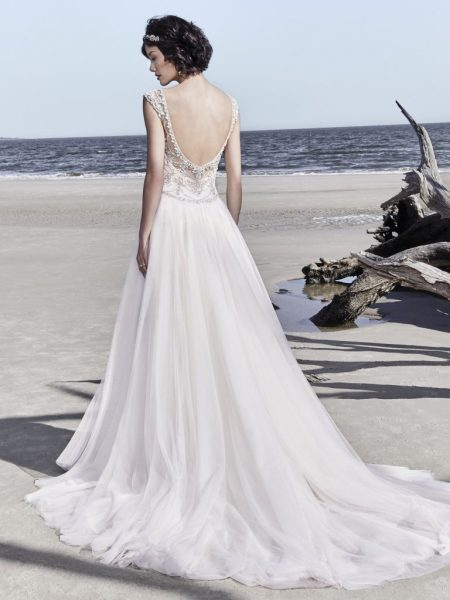 Illusion Sweetheart Neckline Beaded Cap Sleeve A-line Wedding Dress by Maggie Sottero - Image 2