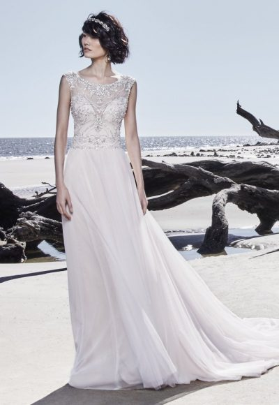 Illusion Sweetheart Neckline Beaded Cap Sleeve A-line Wedding Dress by Maggie Sottero