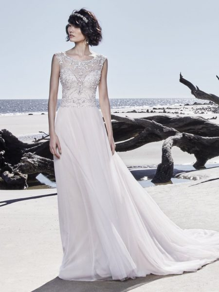 Illusion Sweetheart Neckline Beaded Cap Sleeve A-line Wedding Dress by Maggie Sottero - Image 1