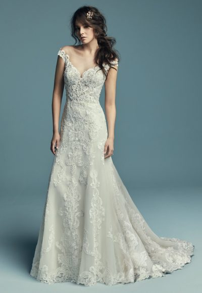 Off The Shoulder Scalloped Sweetheart Neckline Lace A-line Wedding Dress by Maggie Sottero