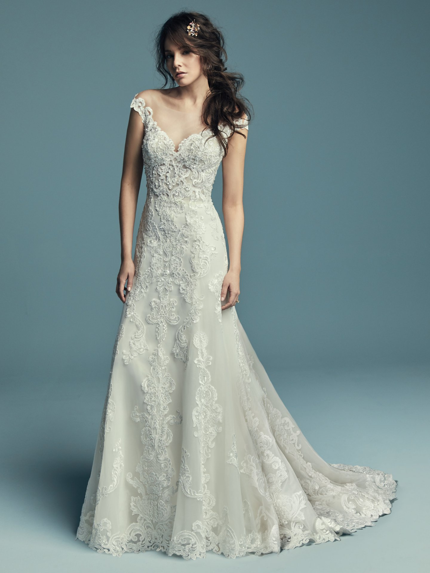 Off The Shoulder Scalloped Sweetheart Neckline Lace A Line Wedding