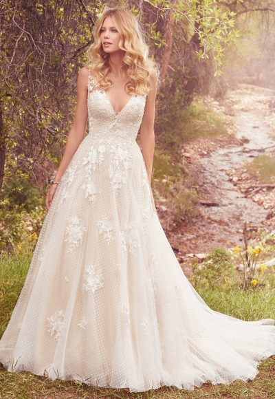 Sleeveless V-neck Lace Appliqued A-line Wedding Dress by Maggie Sottero