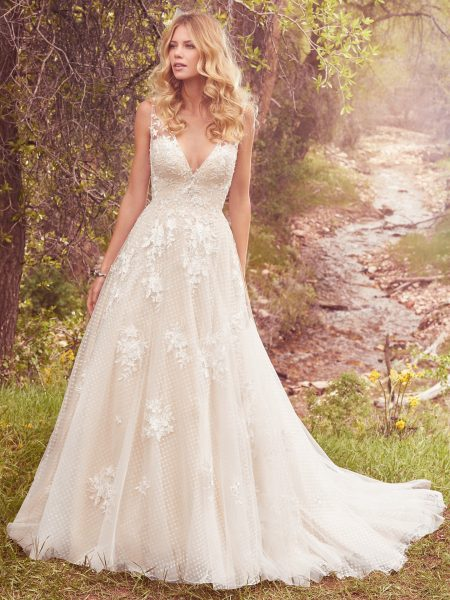 Sleeveless V-neck Lace Appliqued A-line Wedding Dress by Maggie Sottero - Image 1