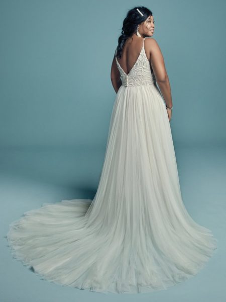 Spaghetti Strap Beaded Lace Bodice Tulle Skirt A-line Wedding Dress by Maggie Sottero - Image 2