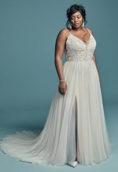 Spaghetti Strap Beaded Lace Bodice Tulle Skirt A-line Wedding Dress by Maggie Sottero