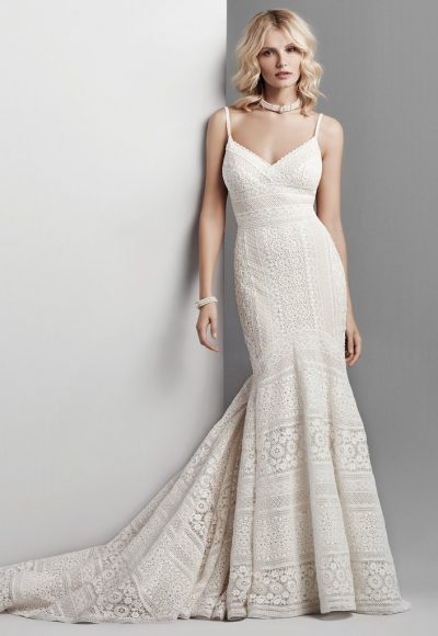 Spaghetti Strap Eyelet Lace Fit And Flare Wedding Dress by Maggie Sottero
