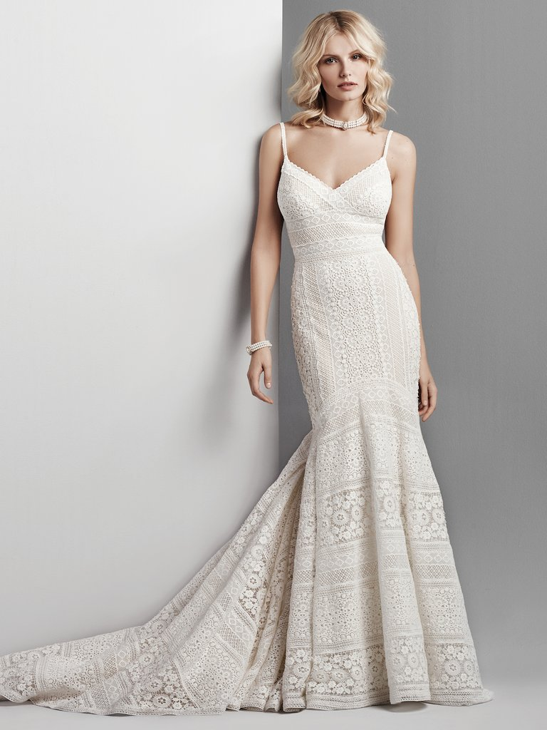 Spaghetti Strap Eyelet Lace Fit And Flare Wedding Dress Kleinfeld Bridal