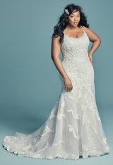 Spaghetti Strap Scoop Neckline Beaded Sheath Wedding Dress by Maggie Sottero - Image 1