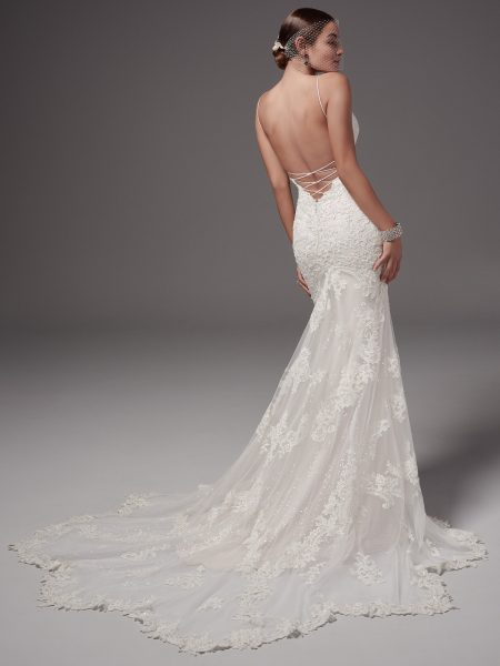 Spaghetti Strap Sweetheart Neckline Sexy Low Back Beaded Lace Fit And Flare by Maggie Sottero - Image 2