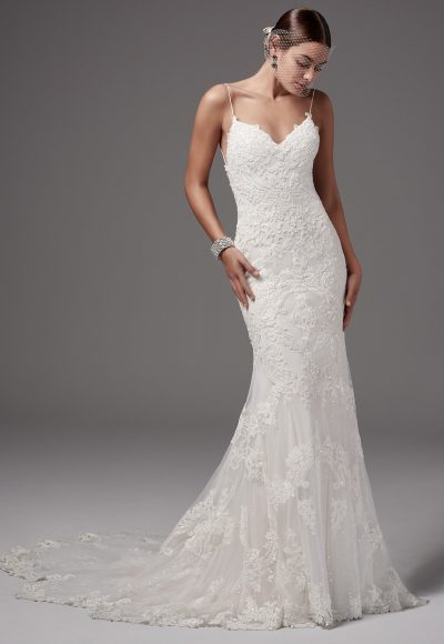 Spaghetti Strap Sweetheart Neckline Y Low Back Beaded Lace Fit And Flare By Maggie Sottero