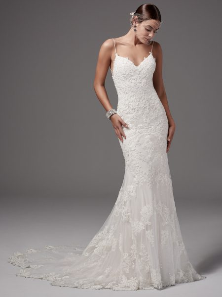 Spaghetti Strap Low Back Wedding Dress