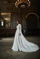 High Neck Long Sleeve Lace Bodice A-line Wedding Dress by Maison Signore - Image 1