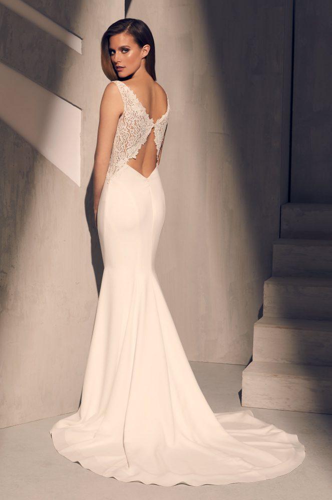 Sleeveless V-neck Lace Bodice Crepe Skirt Fit And Flare Wedding Dress by Mikaella - Image 2