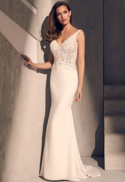 Sleeveless V-neck Lace Bodice Crepe Skirt Fit And Flare Wedding Dress by Mikaella