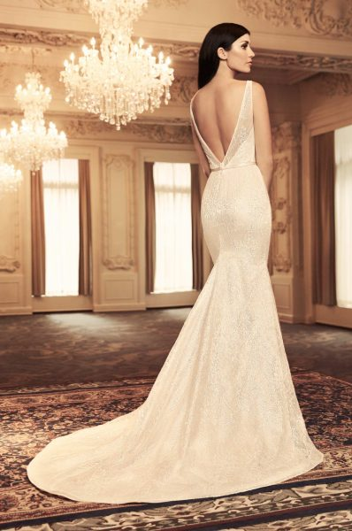 Sleeveless V-neck Sequin Lace Fit And Flare Wedding Dress by Paloma Blanca - Image 2