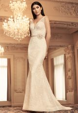 Sleeveless V-neck Sequin Lace Fit And Flare Wedding Dress by Paloma Blanca - Image 1