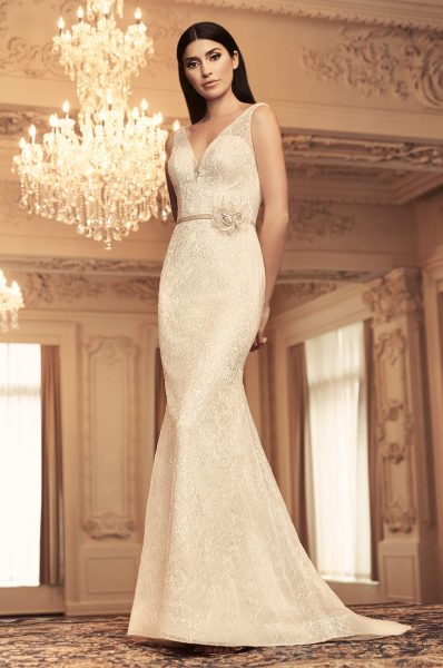 4bee99f787c Sleeveless V-neck Sequin Lace Fit And Flare Wedding Dress by Paloma Blanca  - Image