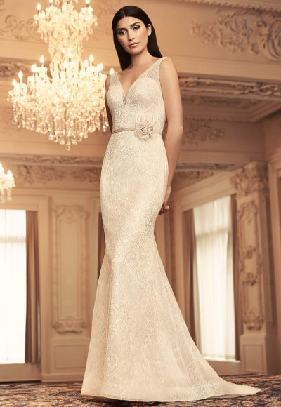 Sleeveless V-neck Sequin Lace Fit And Flare Wedding Dress by Paloma Blanca