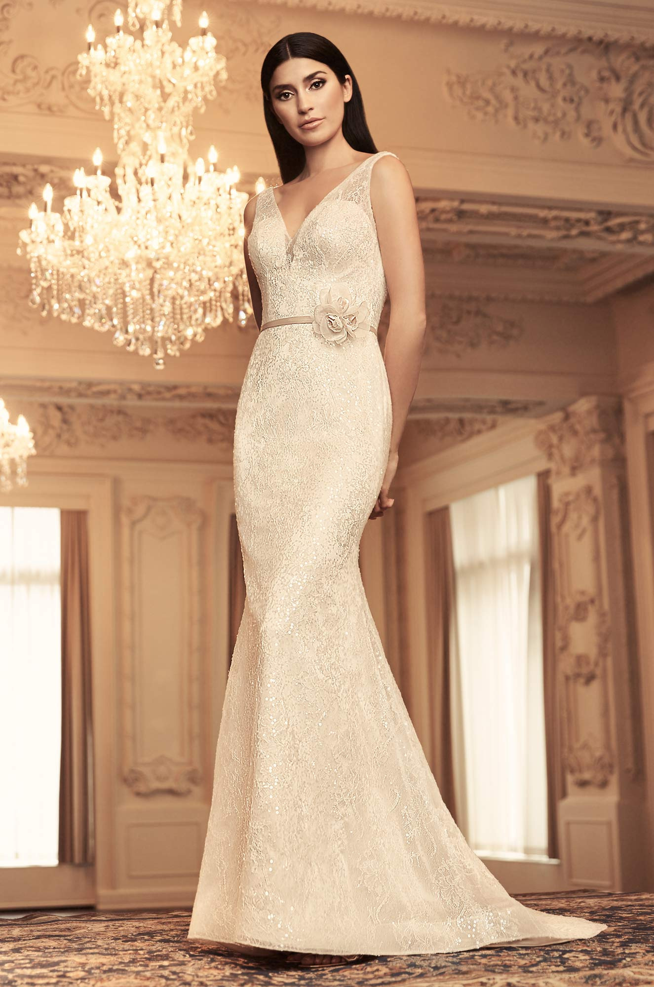 Sleeveless Vneck Sequin Lace Fit And Flare Wedding Dress Kleinfeld Bridal: Wedding Dress With Long Hair At Reisefeber.org