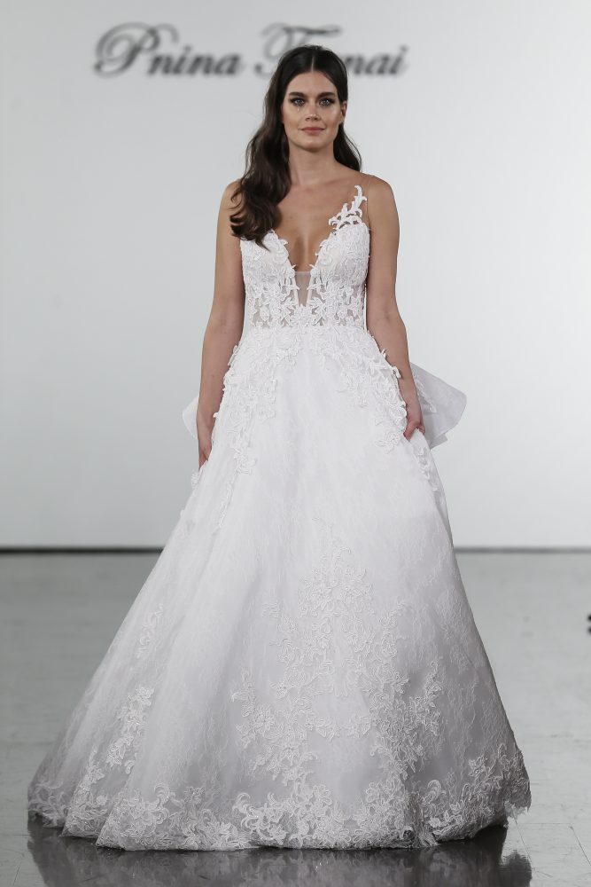 A-line Lace Embroidered Wedding Dress by Pnina Tornai - Image 1