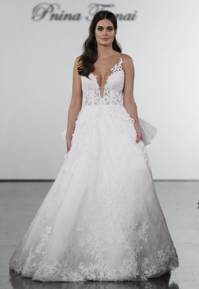 A-line Lace Embroidered Wedding Dress by Pnina Tornai