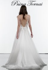 A-line V-neck Netted Bodice Tulle Skirt Wedding Dress by Pnina Tornai - Image 2