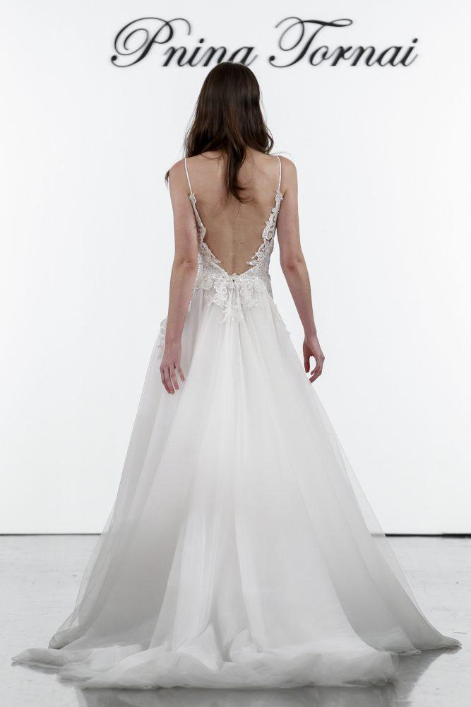 A-line V-neck Netted Bodice Tulle Skirt Wedding Dress by Pnina Tornai - Image 2