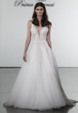 A-line V-neck Netted Bodice Tulle Skirt Wedding Dress by Pnina Tornai - Image 1