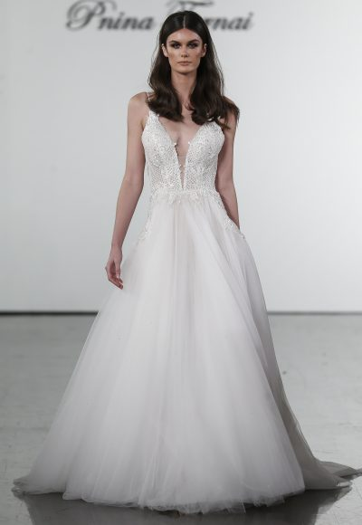 A-line V-neck Netted Bodice Tulle Skirt Wedding Dress by Pnina Tornai