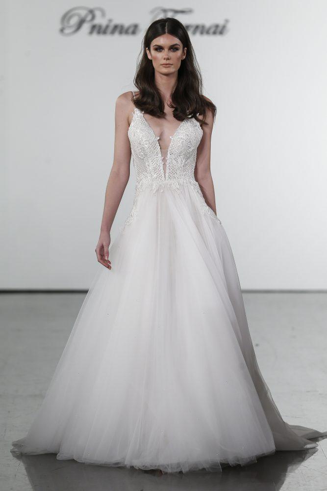 A-line V-neck Netted Bodice Tulle Skirt Wedding Dress by Pnina Tornai - Image 1
