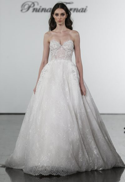 Ballgown With Sheer Bodice And Embroidered Floral Applique Skirt by Pnina Tornai