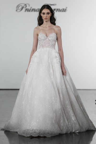 Ballgown With Sheer Bodice And Embroidered Floral Applique Skirt by Pnina Tornai - Image 1