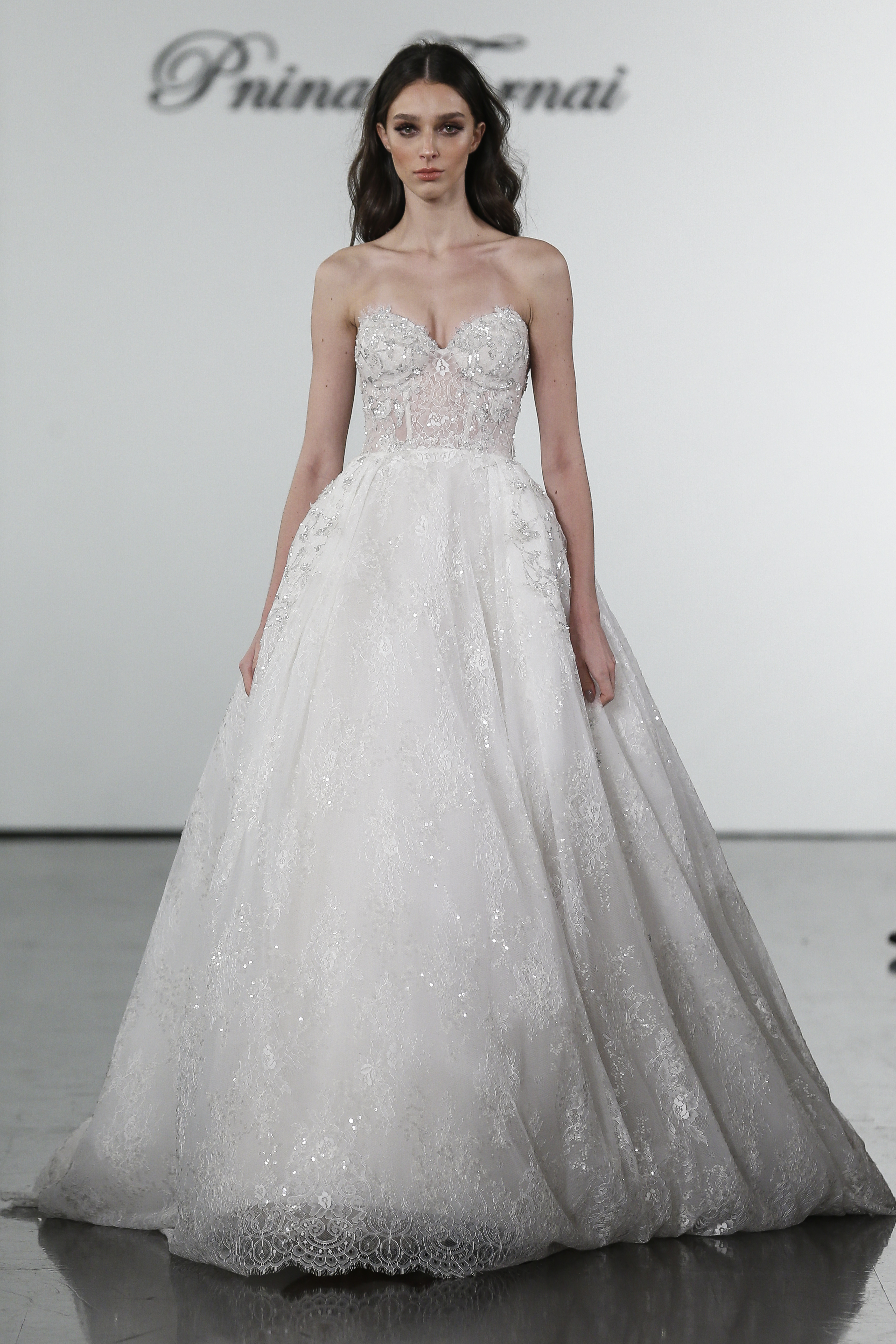 f56d1db72175f Ballgown With Sheer Bodice And Embroidered Floral Applique Skirt |  Kleinfeld Bridal