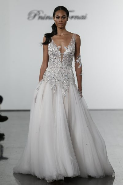 Crystal Bodice Sheath With Silk Tulle Skirt by Pnina Tornai - Image 1