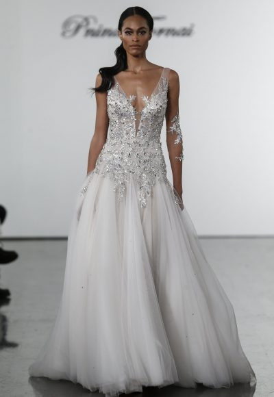 Crystal Bodice Sheath With Silk Tulle Skirt by Pnina Tornai