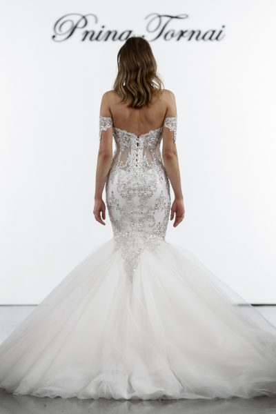 Crystal Embellished Mermaid Tulle Skirt Wedding Dress by Pnina Tornai - Image 2