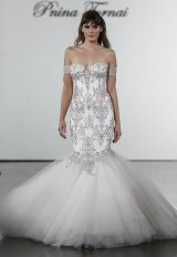 Crystal Embellished Mermaid Tulle Skirt Wedding Dress by Pnina Tornai - Image 1