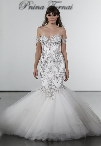 Crystal Embellished Mermaid Tulle Skirt Wedding Dress by Pnina Tornai
