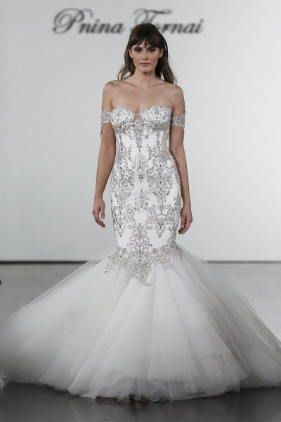 fef316180676db Crystal Embellished Mermaid Tulle Skirt Wedding Dress by Pnina Tornai -  Image 1