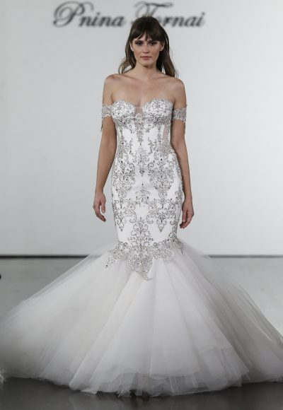 Crystal Embellished Mermaid Tulle Skirt Wedding Dress by Pnina Tornai