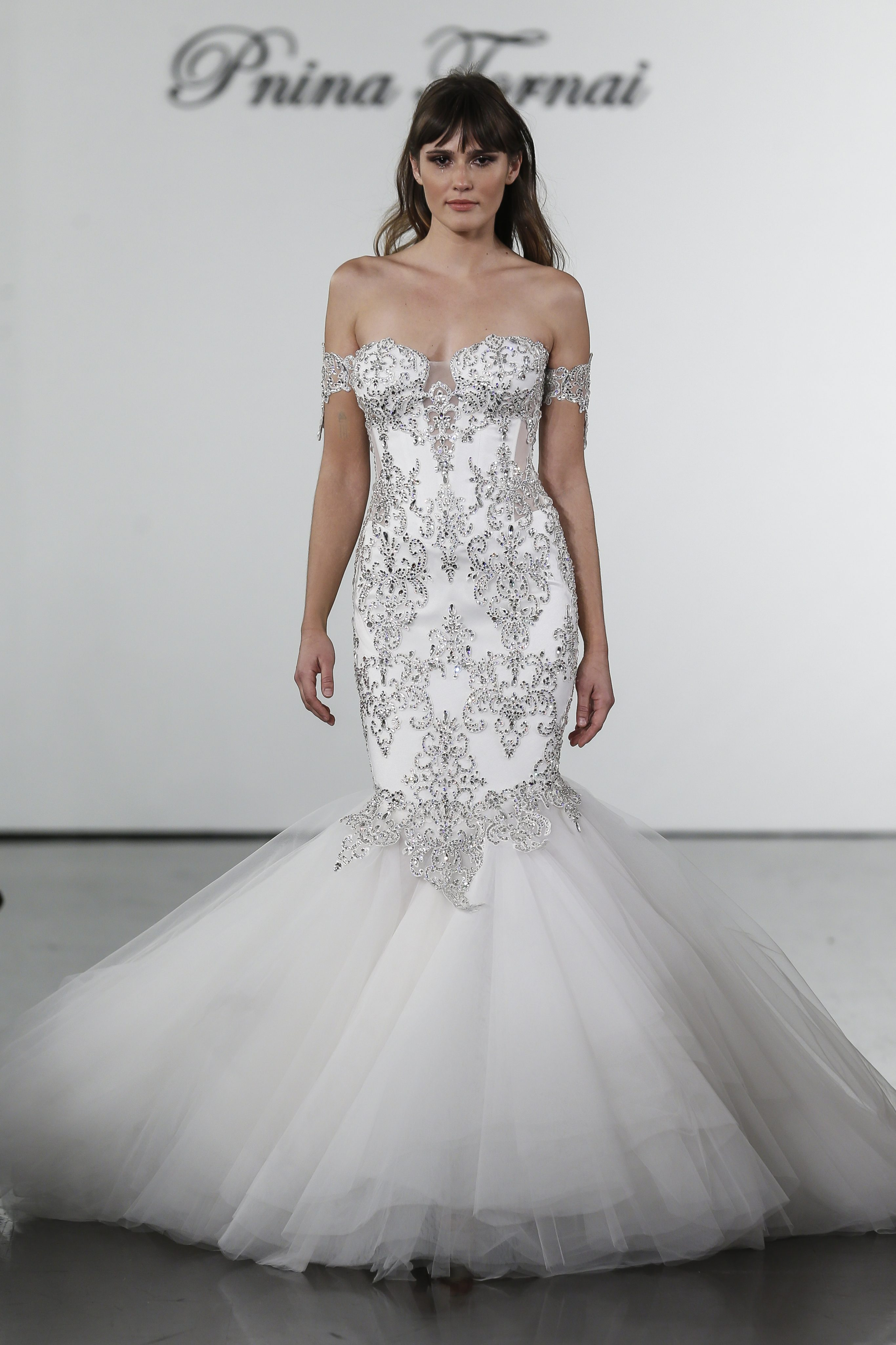Crystal Embellished Sweetheart Mermaid Gown With Textured Skirt ...