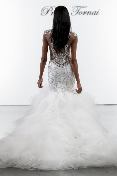 Crystall Embellished Mermaid Wedding Dress With Tulle Skirt by Pnina Tornai - Image 2