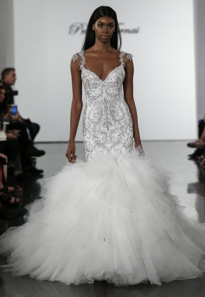Crystall Embellished Mermaid Wedding Dress With Tulle Skirt by Pnina Tornai