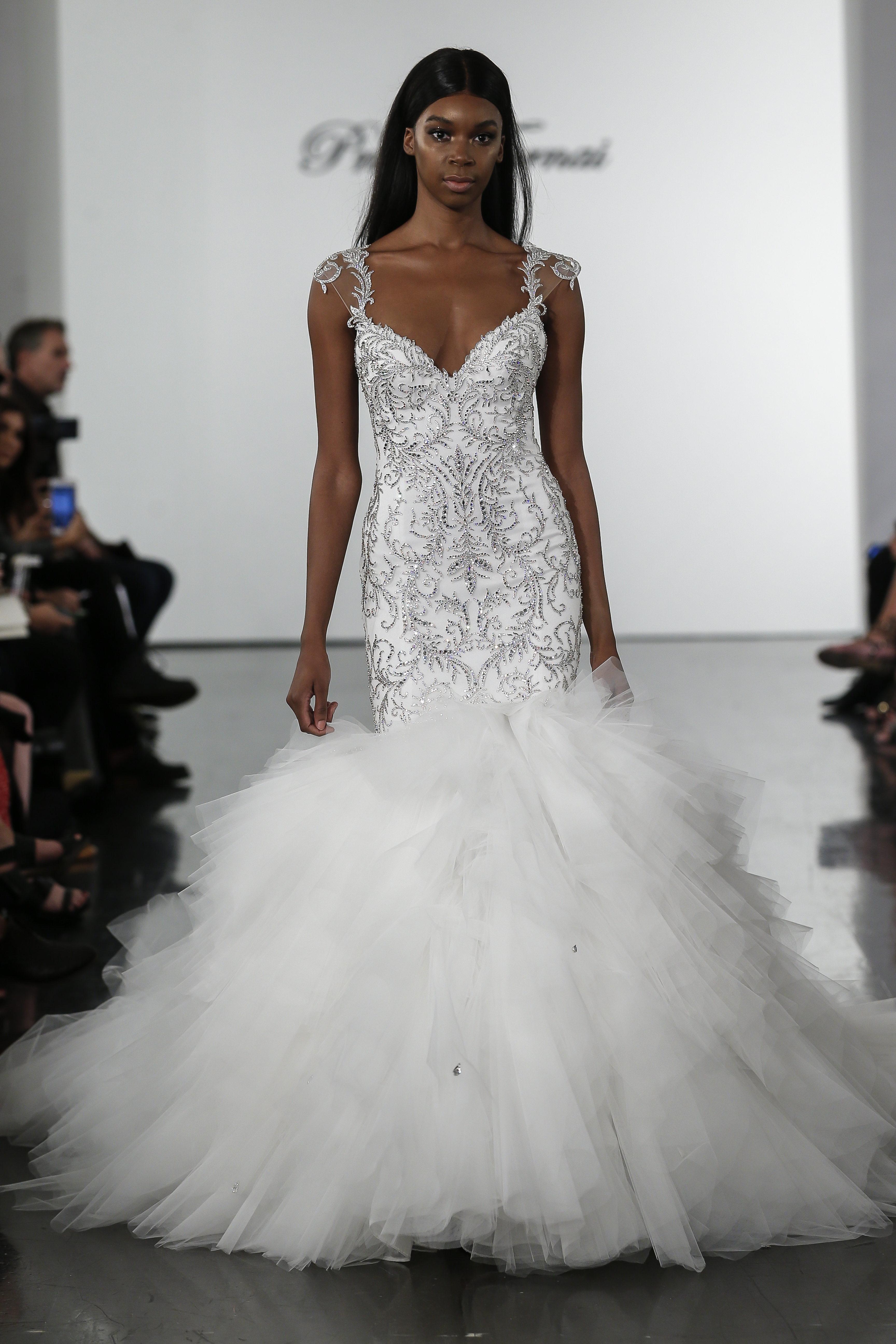 Crystall Embellished Mermaid Wedding Dress With Tulle Skirt