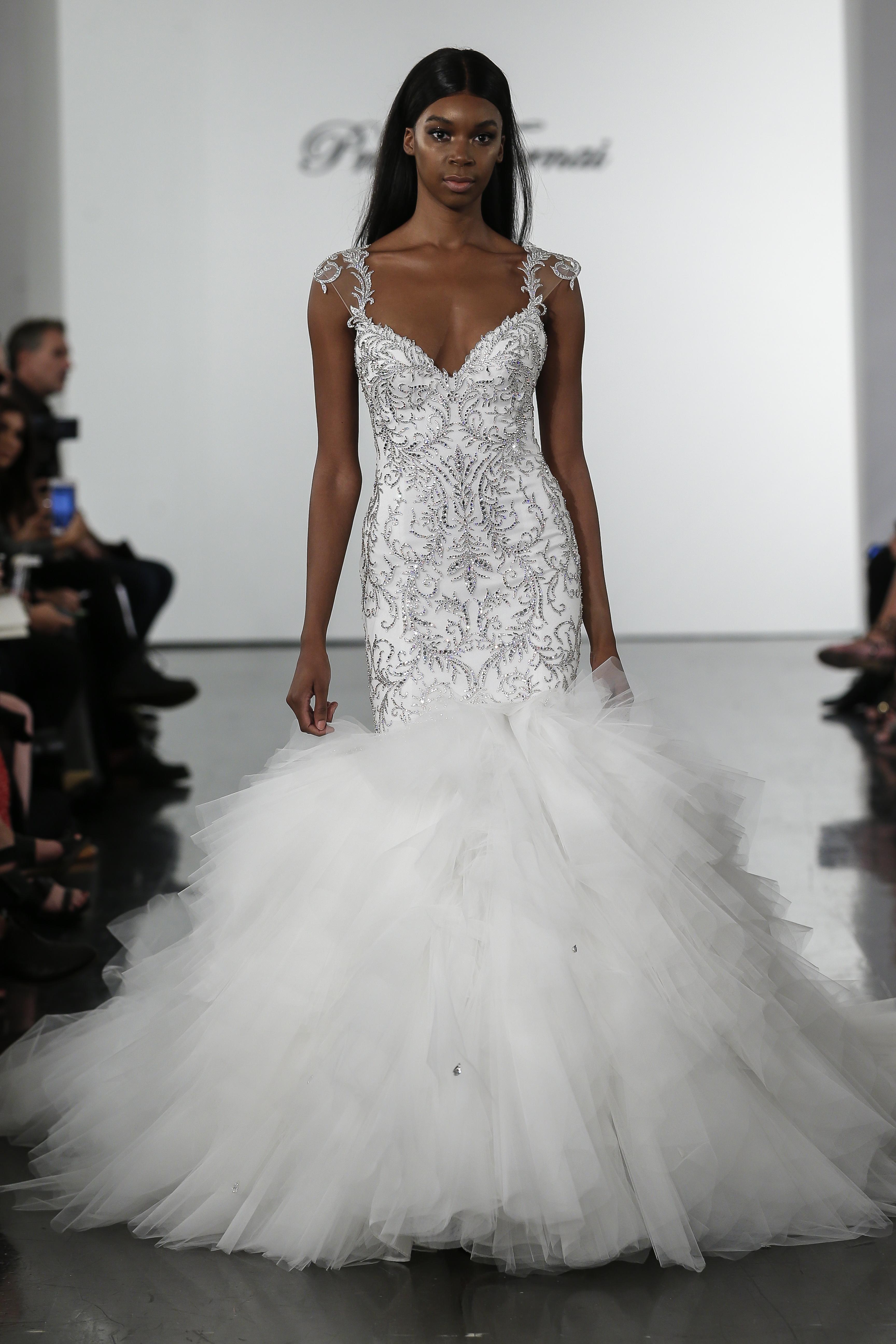 797defde26e Crystall Embellished Mermaid Wedding Dress With Tulle Skirt ...