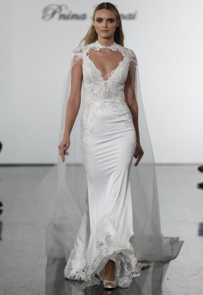 Fit And Flare Wedding Dress With Sequin Netted Bodice by Pnina Tornai