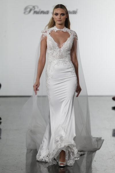 Fit And Flare Wedding Dress With Sequin Netted Bodice by Pnina Tornai - Image 1